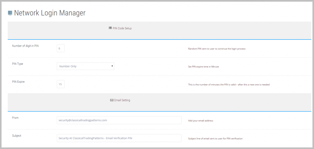 Set up PIN parameters and outgoing email addresses