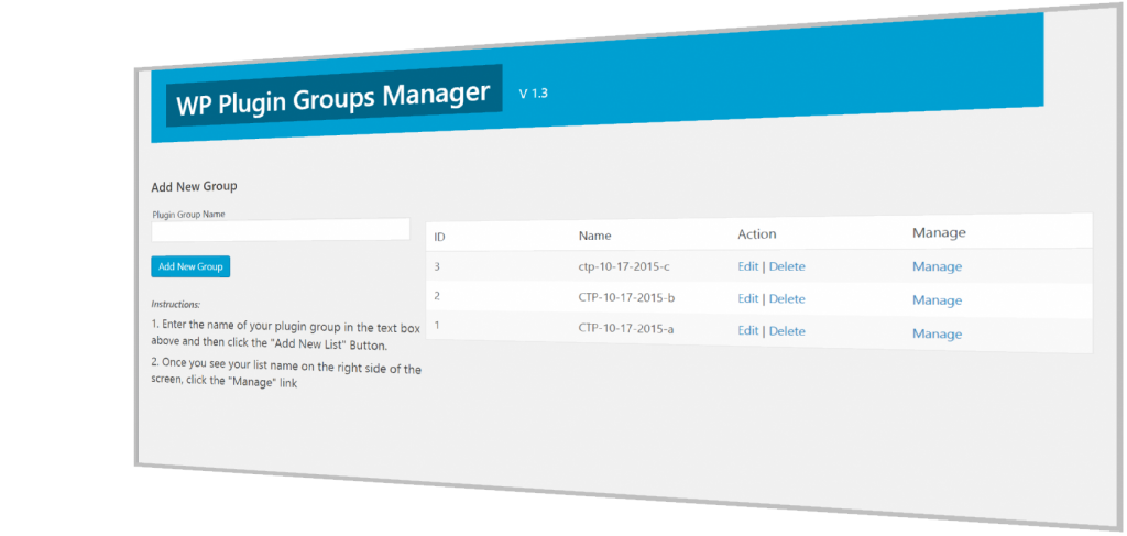 Page for defining and naming a group